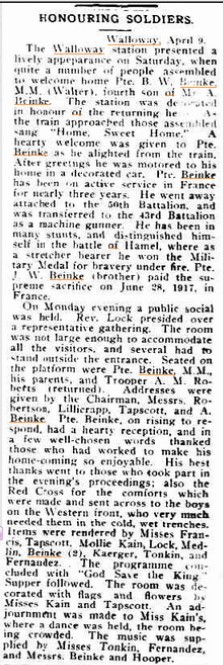 Honouring Soldiers article, Source: http://trove.nla.gov.au/ndp/del/article/109507606?searchTerm=Beinke%20of%20Walloway&searchLimits=